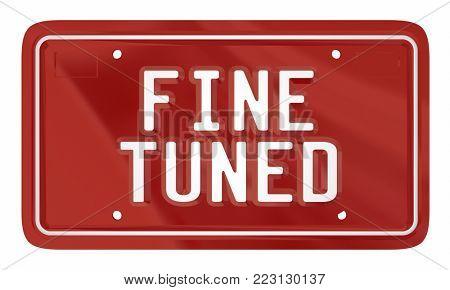 Fine Tuned License Plate Car Vehicle Automobile 3d Illustration