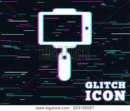 Glitch effect. Monopod selfie stick icon. Self portrait tool. Background with colored lines. Vector