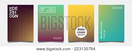 Minimalistic notebook cover design. Vector halftone gradient for flyer, brochure, banner, placard. Future colorful Poster template. Modern minimalist pattern.