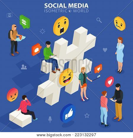 Social media isometric concept. Young people communicate with each other. Social networking and blogging. Flat design of guys and women near big hashtag symbol.