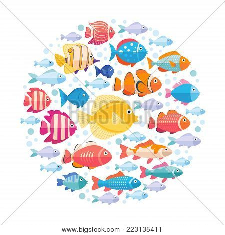 Colorful aquarium fish set in circle vector isolated. Tropical fishes collection on white