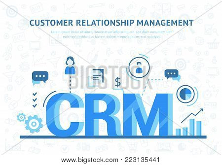 CRM concept design with vector elements. Organization of data on work with clients, Customer Relationship Management. Flat icons of accounting system, clients, support, deal.