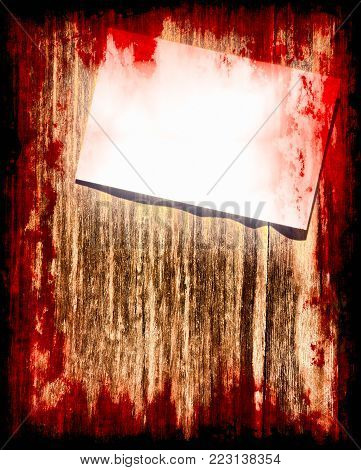 Halloween background.Suicide bloody note on grunge wooden background with dark frame.