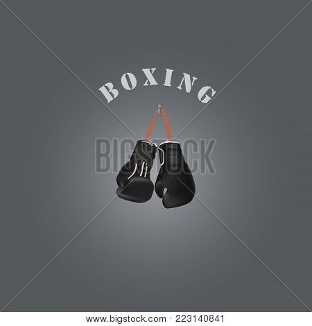 Realistic boxing gloves. Logo for the boxing club. Vector illustration