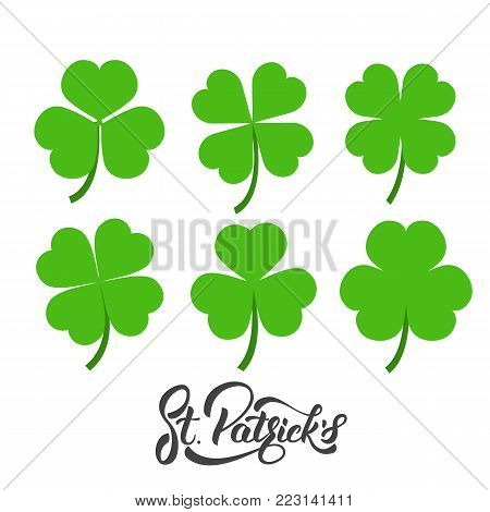Saint Patrick's Day. Set of irish clovers, shamrock leaves. St. Patricks Day decoration elements.