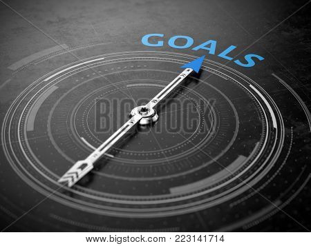 Goals concept - Compass needle pointing Goals word. 3d rendering