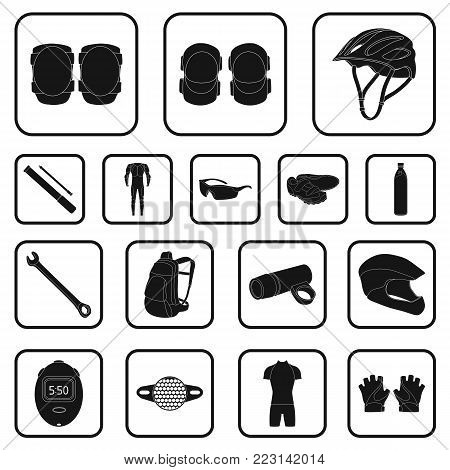 Bicycle outfit black icons in set collection for design. Bicycle and tool vector symbol stock  illustration.