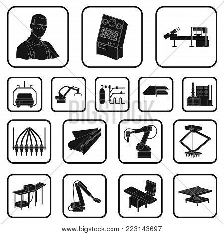 Equipment and machine black icons in set collection for design. Technical progress of the factory vector symbol stock illustration.