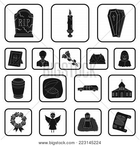 Funeral ceremony black icons in set collection for design. Funerals and Attributes vector symbol stock  illustration.