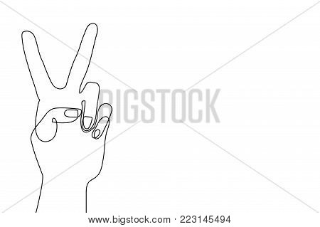 Continuous line drawing. Fingers showing victory sign.