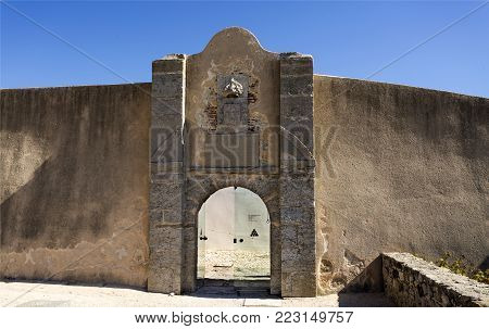 CASCAIS, PORTUGAL - October 3, 2017: Fort erected during the Portuguese Restoration War with Spain with covered bartizans in the corners and a covered line for the musketeers, near Cascais, Portugal