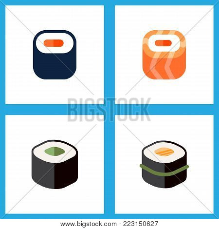 Icon flat maki set of gourmet, japanese food, oriental and other vector objects. Also includes sushi, seafood, rolls elements.