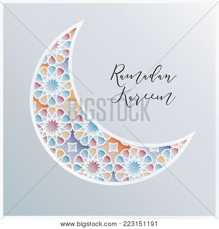 Ornamental Arabic half moon with decorative colorful tile pattern background, vector illustration greeting card, invitation for Muslim community holy month Ramadan Kareem.
