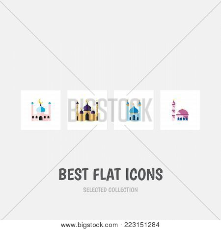 Icon flat building set of mosque, building, islam and other vector objects. Also includes mosque, structure, building elements.