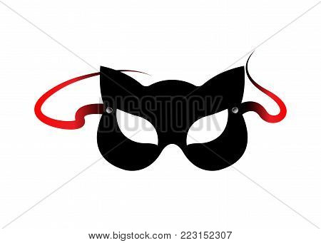 Carnival fetish cat masks, accessories from bdsm toys, vector isolated poster