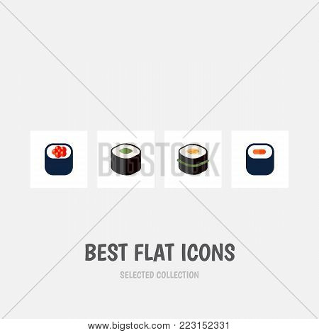 Icon flat maki set of gourmet, oriental, sashimi and other vector objects. Also includes seafood, sushi, sashimi elements.