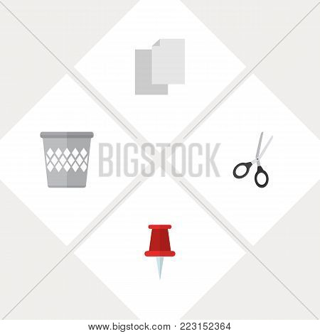 Icon flat equipment set of blank, pin, bin and other vector objects. Also includes trashcan, paper, basket elements.