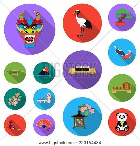 Country Japan flat icons in set collection for design.Japan and landmark vector symbol stock  illustration.