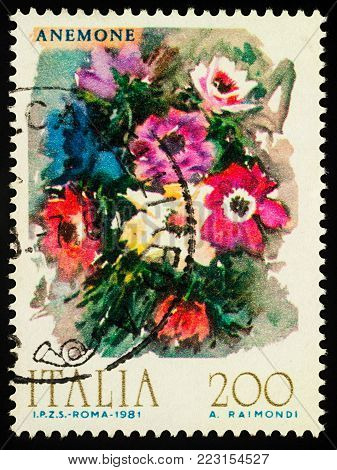 Moscow, Russia - January 22, 2018: A stamp printed in Italy shows Anemones, watercolor, series