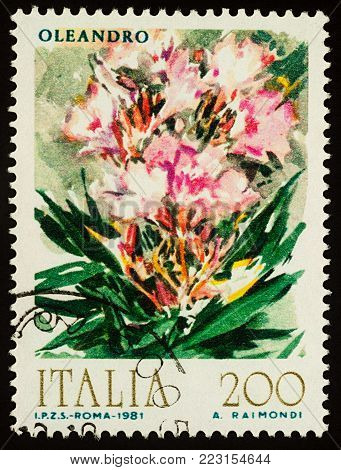 Moscow, Russia - January 22, 2018: A stamp printed in Italy shows flowers - oleander, watercolor, series