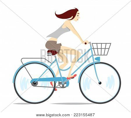 Girl Riding Bicycle. Vector Illustration Of A Beautiful Young Girl Riding A Blue Bike.