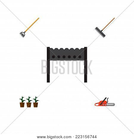 Icon flat dacha set of rake, brazier, hoe and other  objects. Also includes tool, barbecue, hoe elements.