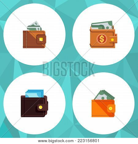 Icon flat billfold set of money, saving, wallet and other  objects. Also includes wallet, money, purse elements.
