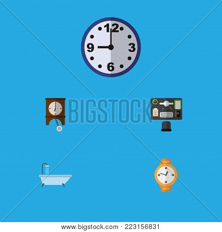 Icon flat oneday set of office desk, clock, shower and other  objects. Also includes clock, watch, desk elements.