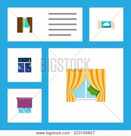 Icon flat window set of frame, balcony, curtain and other  objects. Also includes window, frame, glass elements.