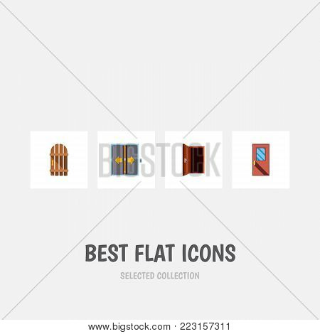 Icon flat door set of elevator, frame, entrance and other  objects. Also includes door, exit, entrance elements.