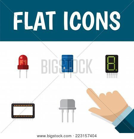 Icon flat device set of receiver, unit, opposition and other  objects. Also includes transistor, calculator, display elements.