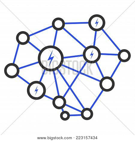 Lightning Network flat vector pictograph. An isolated icon on a white background.