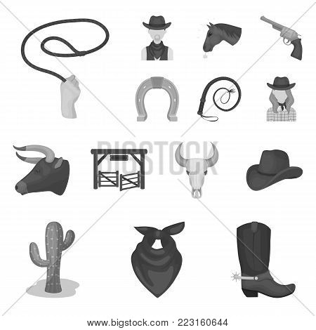 Rodeo, competition monochrome icons in set collection for design. Cowboy and equipment vector symbol stock  illustration.