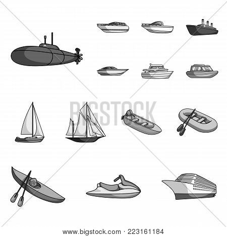 Water and sea transport monochrome icons in set collection for design. A variety of boats and ships vector symbol stock illustration.