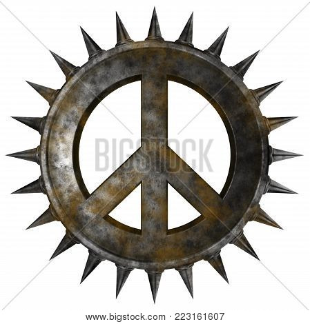 rusty peace symbol with spikes on white background - 3d rendering