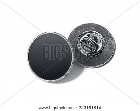 Round lapel pin with black blank face isolated on bright background. 3d rendering