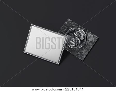 Square lapel pin with black blank face isolated on dark background. 3d rendering