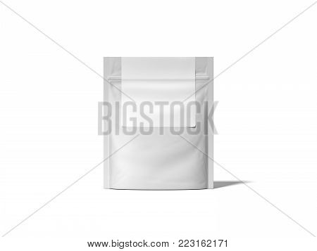 White zipper bag with blank label isolated on bright background. 3d rendering