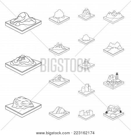 Mountains, massive outline icons in set collection for design. The surface of the earth vector isometric symbol stock  illustration.
