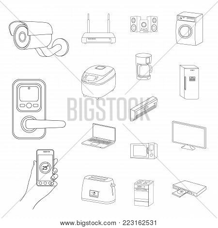 Smart home appliances outline icons in set collection for design. Modern household appliances vector symbol stock illustration.
