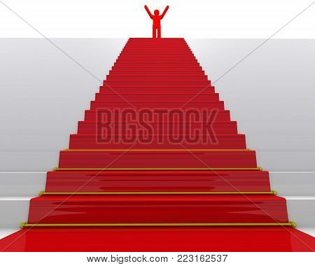 The goal is achieved. Red symbol of man on top of stairs with a red carpet. The concept of achieving the goal. 3D Illustration