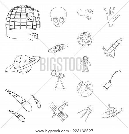 Space technology outline icons in set collection for design.Spacecraft and equipment vector symbol stock  illustration.