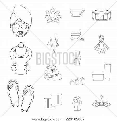 Spa salon and equipment outline icons in set collection for design. Relaxation and rest vector symbol stock  illustration.