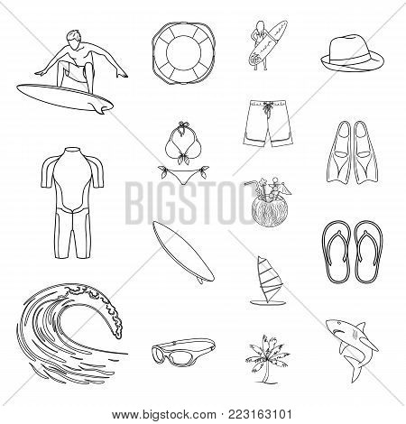 Surfing and extreme outline icons in set collection for design. Surfer and accessories vector symbol stock  illustration.