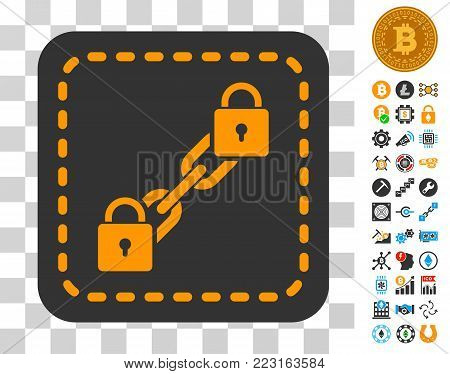 Blockchain Wallet pictograph with bonus bitcoin mining and blockchain icons. Vector illustration style is flat iconic symbols. Designed for crypto-currency apps.
