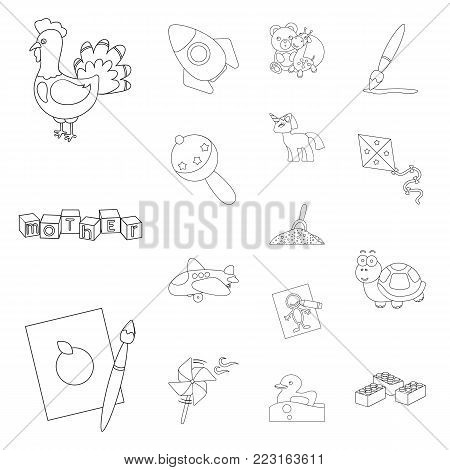 Children's toy outline icons in set collection for design. Game and bauble vector symbol stock illustration.