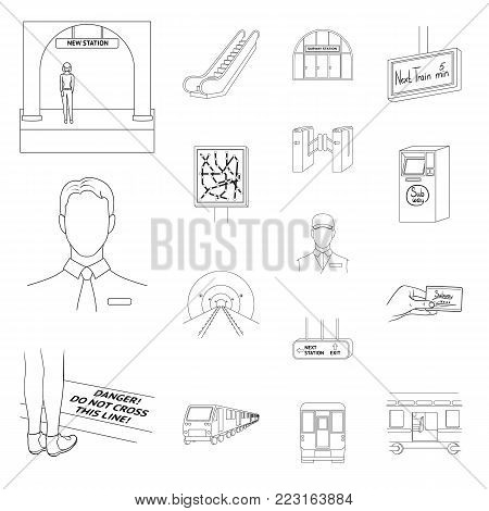 Metro, subway outline icons in set collection for design.Urban transport vector symbol stock  illustration.