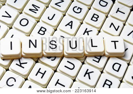 Insult text word crossword title caption label cover background. Alphabet letter toy blocks. White alphabetical letters. Insult.
