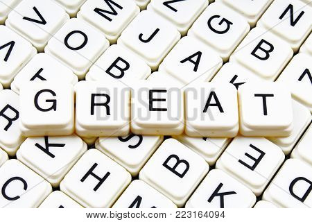 Great text word crossword title caption label cover background. Alphabet letter toy blocks. White alphabetical letters. Great.