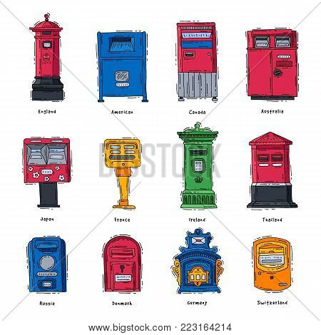 Mail box vector post mailbox or postal letterbox of England America Europe or Asia mailer and postboxes for delivery mailed letters to various countries set illustration isolated on white background.